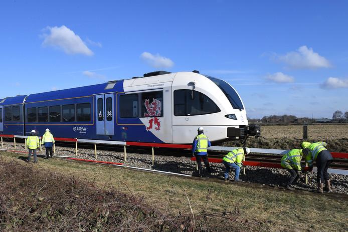 Werken aan de Maaslijn ter hoogte van Groeningen.