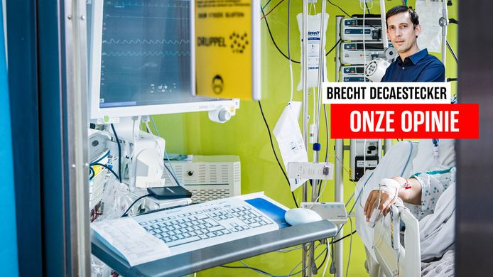 Een patiënt vorige week op de Covidafdeling van het ziekenhuis van Jette.