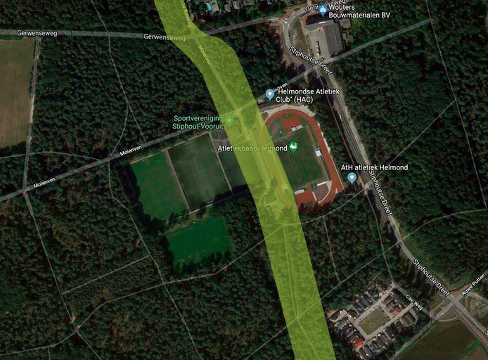 Het buizentracé voor het transport van gevaarlijke stoffen loopt in Stiphout pal over sportpark Molenven.