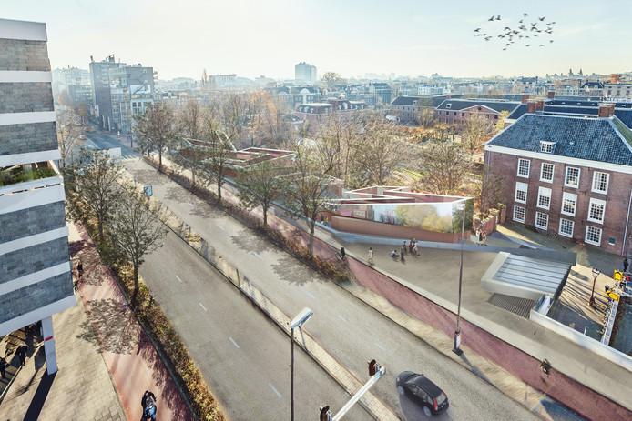 Een impressie van het Holocaust Namenmonument in Amsterdam.