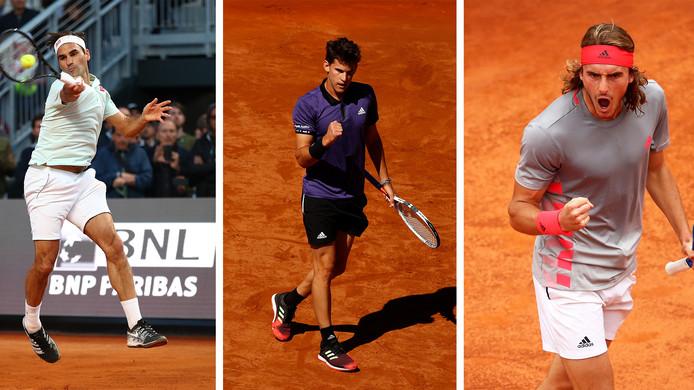 Roger Federer, Dominic Thiem, Stefanos Tsitsipas