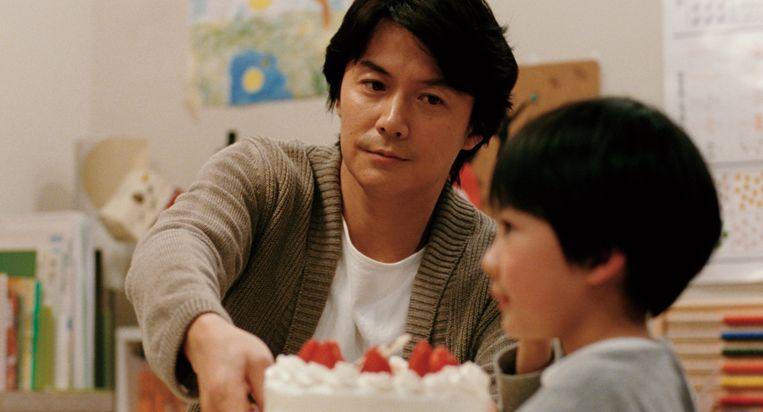 Masaharu Fukuyama  en Keita Ninomiya in Like Father, Like Son. Beeld rechtenvrij