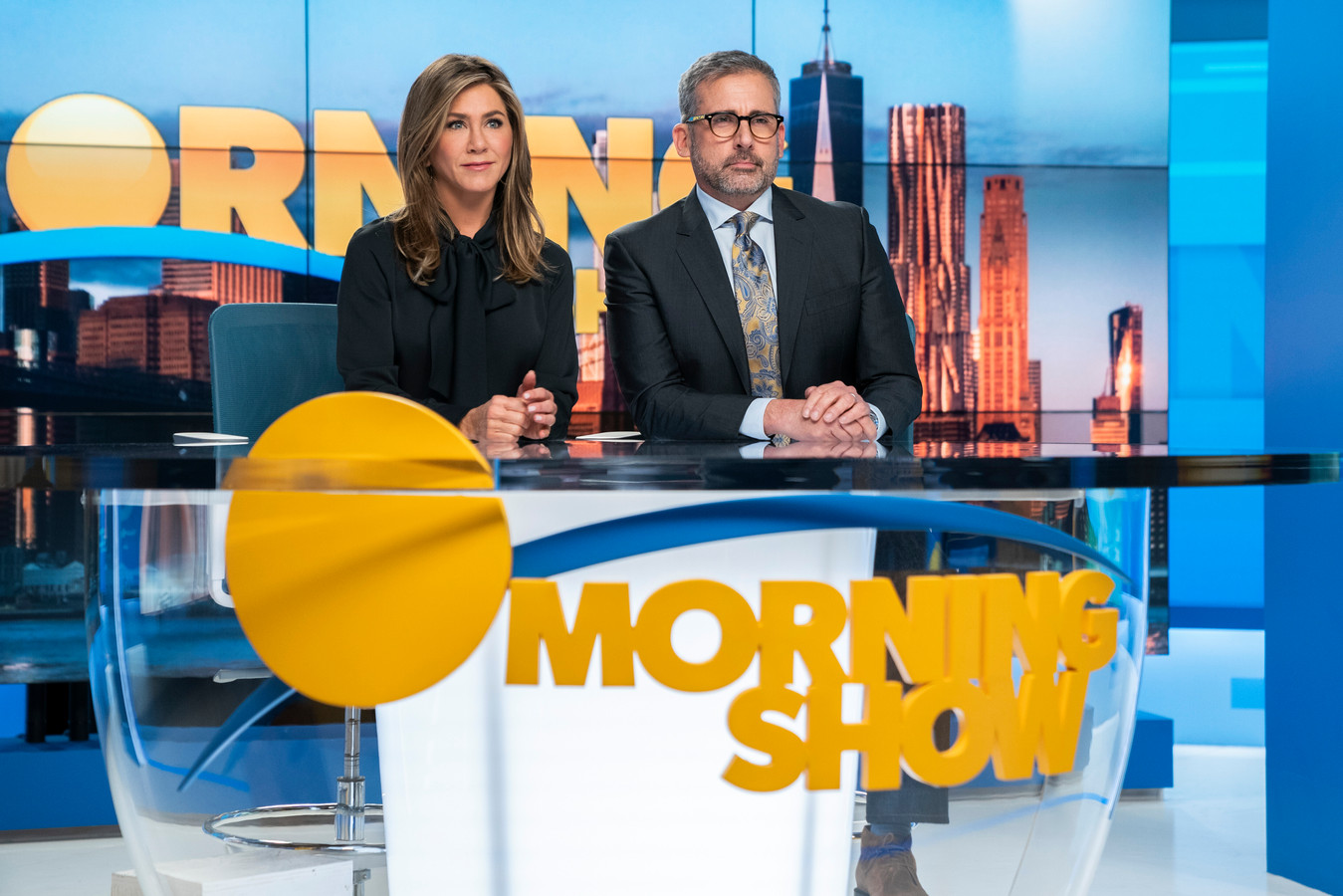 "Jennifer Aniston et Steve Carrell dans la série ""The Morning Show""."
