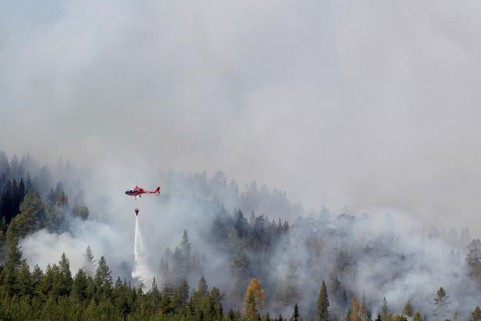 De brandweer gebruikt helikopters om de hevige bosbranden bij Hammarstrand te bestrijden.