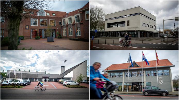 De gemeentehuizen van Beuningen, Druten, Wijchen en West Maas en Waal (vanaf linksboven, met de klok mee)