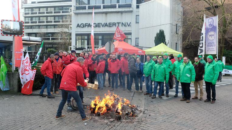 Stakingspiket aan Agfa Gevaert in Mortsel.