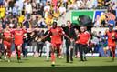 De spelers van Paderborn vieren de promotie naar de Bundesliga.