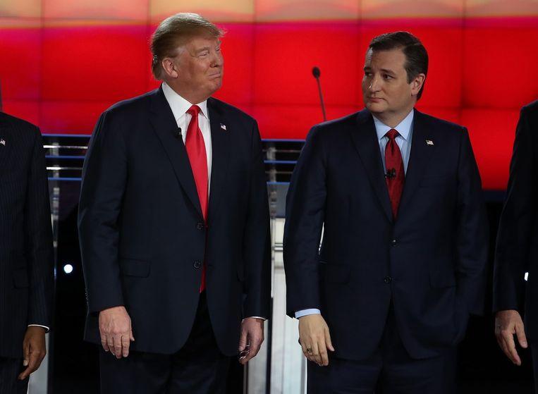 Republikeinse kandidaten Donald Trump en senator Ted Cruz Beeld afp