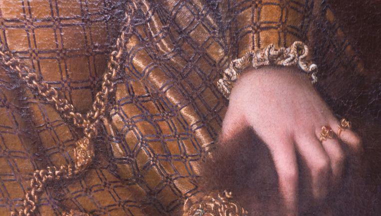 Detail uit Sofonisba Anguissola. Portret van Bianca Ponzoni Anguissola, moeder van de kunstenaar, 1557 Beeld Staatliche Museen zu Berlin, Gemäldegalerie, Berlijn