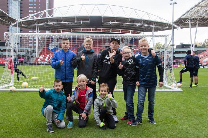 Op het veld bij de open training van FC Utrecht.