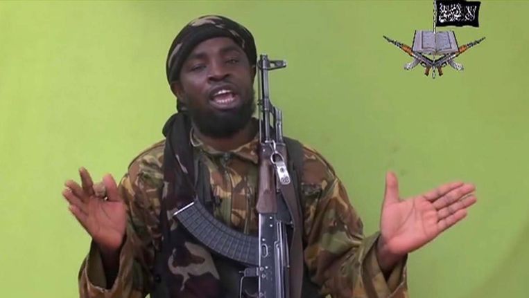 Boko Haram-leider Abubakar Shekau in een videoboodschap van 12 mei. Beeld AP