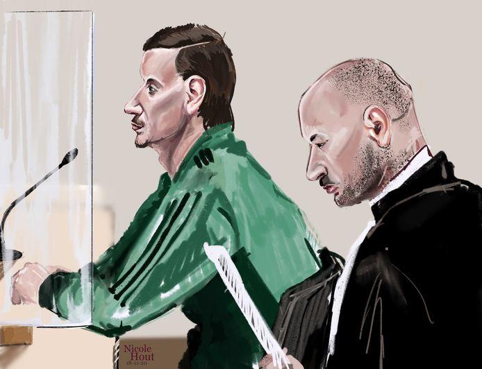 Danny V. en zijn advocaat Bjorn Jegers in de rechtbank vandaag.