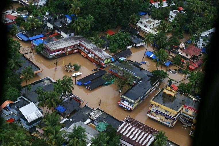 Een luchtfoto van Kochi, een plaats in de provincie Kerala. Beeld EPA