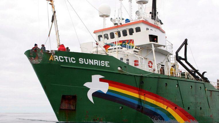 Het Greenpeace-schip Arctic Sunrise. Beeld EPA