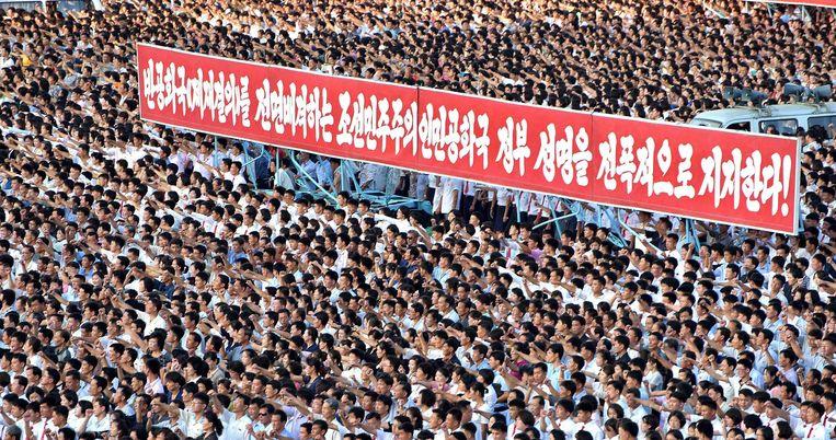 Woensdag werd in Pyongyang een optocht gehouden waarbij tienduizenden protesteerden tegen de sancties van de VN.
