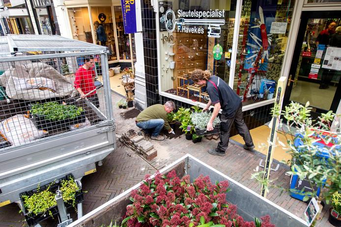 Ondernemers dragen zelf ook bij aan het opfleuren van de Nieuwstraat. De eerste aanzet was gisteren de aanleg van geveltuintjes. Dat kan dankzij een cheque van 2.000 euro van Binnenstadsmanagement en ondernemers zelf.