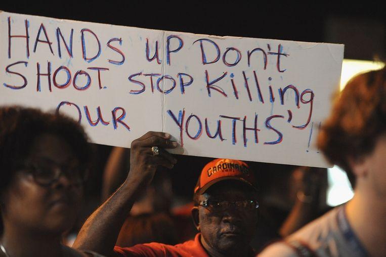 Het is sinds de dood van Michael Brown enorm onrustig in Ferguson. Beeld afp