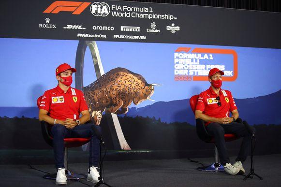 Leclerc en Vettel op de persconferentie achteraf van de GP van Steiermark.