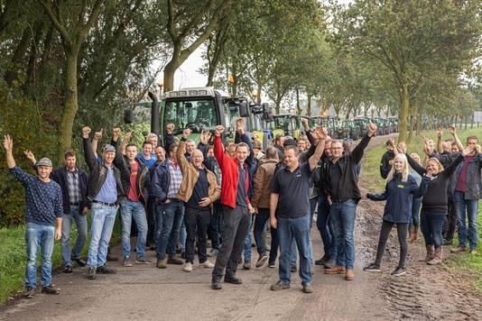 Zeventig boeren uit Eemland trokken vanochtend naar het Utrechtse provinciehuis.