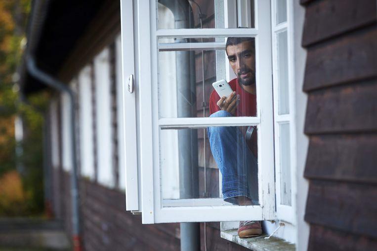 Een bewoner van een asielcentrum nabij Daaden, Duitsland in 2015.