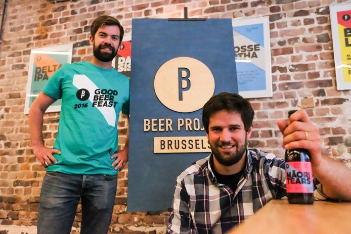 (Archiefbeeld) De jonge Brusselse brouwers Olivier De Brauwere en Sébastien Morvan van Brussels Beer Project.