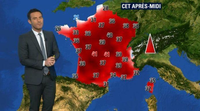 De bloedrode weerkaart van Frankrijk.
