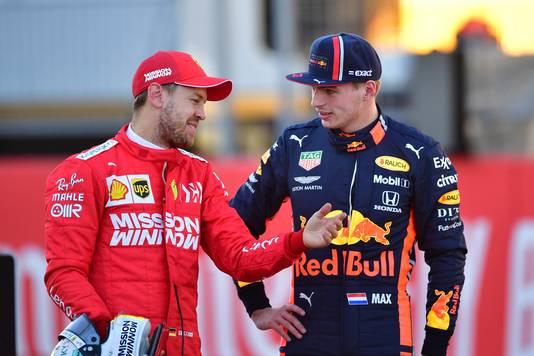 Max Verstappen en Sebastian Vettel