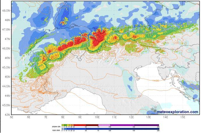 Morgen en tijdens de nacht van vrijdag op zaterdag valt er lichte sneeuw langsheen de noordzijde van de Alpen.