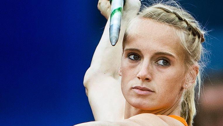 Anouk Vetter vorig jaar tijdens het onderdeel speerwerpen op de EK atletiek in Amsterdam. Beeld null