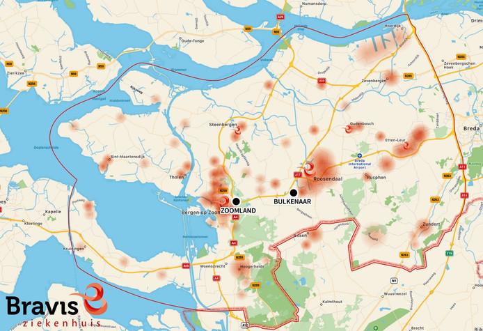 Overzichtskaart van de twee locaties die overwogen werden bij de keuze voor een nieuwe hoofdlocatie van het Bravis ziekenhuis.