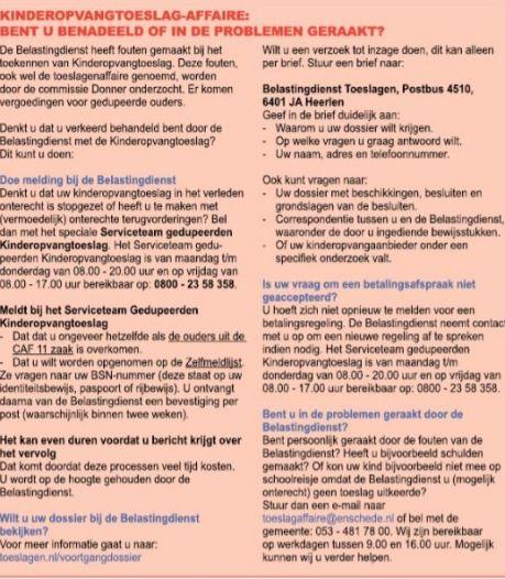 Gemeente Enschede komt tot verrassing en verbazing politiek met meldpunt toeslagenaffaire