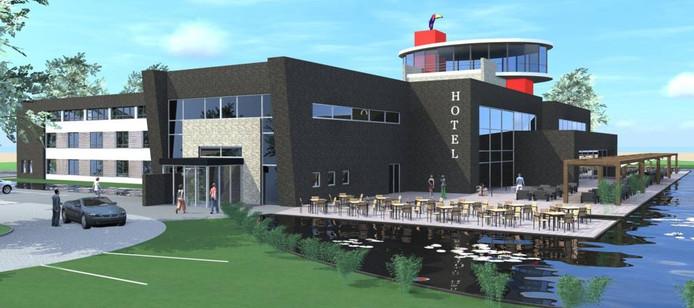 Van der Valk Hotel laat de donkere gevel en rode accenten van het nieuwe hotel in Uden nog veranderen.
