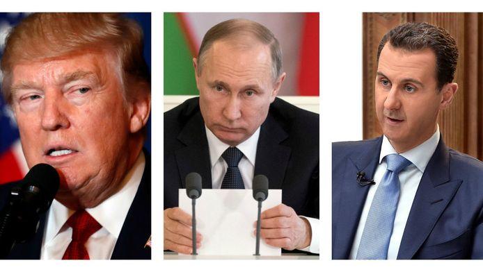 Hoofdrolspelers Trump, Poetin en Assad.