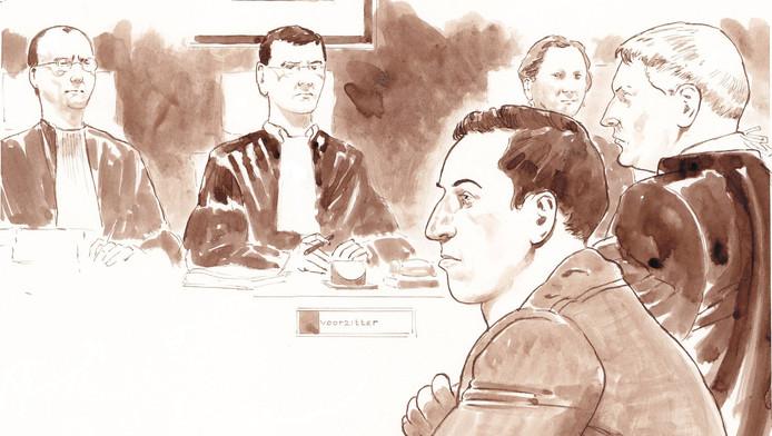 Mark de J. in de rechtszaal.