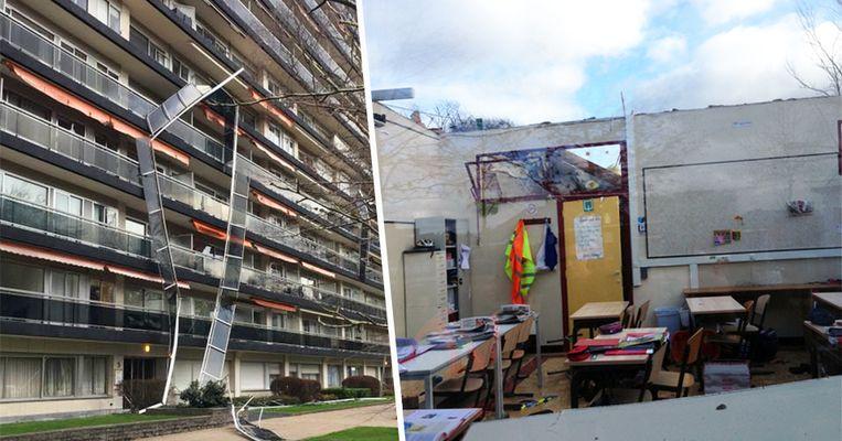 In Antwerpen vielen terrassen naar beneden, in Gruitrode werd het dak van een school weggeblazen.