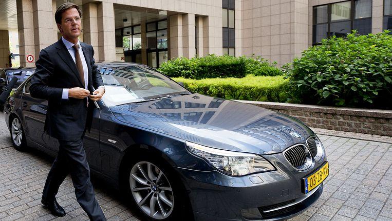 Premier Mark Rutte komt aan in Brussel voor de eurotop over de aanpak van de Europese schuldencrisis. Beeld ANP