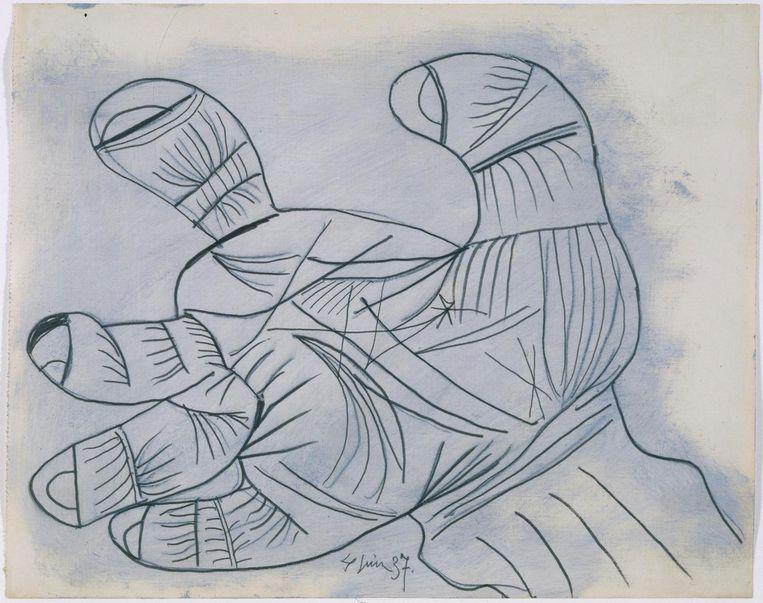 Studie van een hand, Pablo Picasso, 1937. Beeld Sucesión Pablo Picasso, VEGAP, Madrid 2016.
