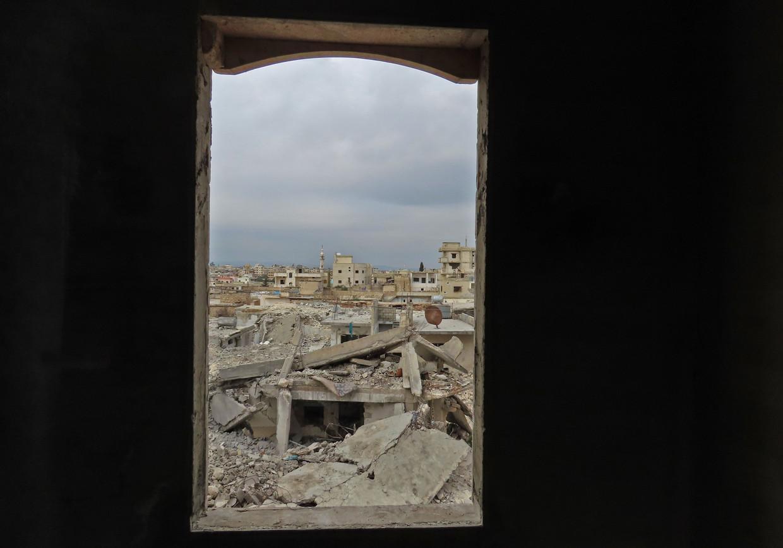 Het verwoeste dorpje Binnish in Idlib, Syrië