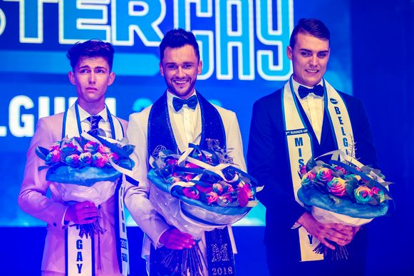 De top 3 van de verkiezing van vorig jaar, met in het midden Mister Gay Belgium Bart Hesters. Links zie je Nick Van Vooren uit Eeklo.