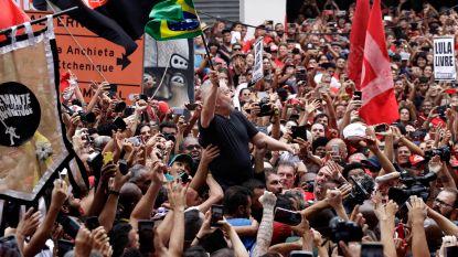 Pas vrijgelaten Lula voert alweer campagne voor een links Brazilië