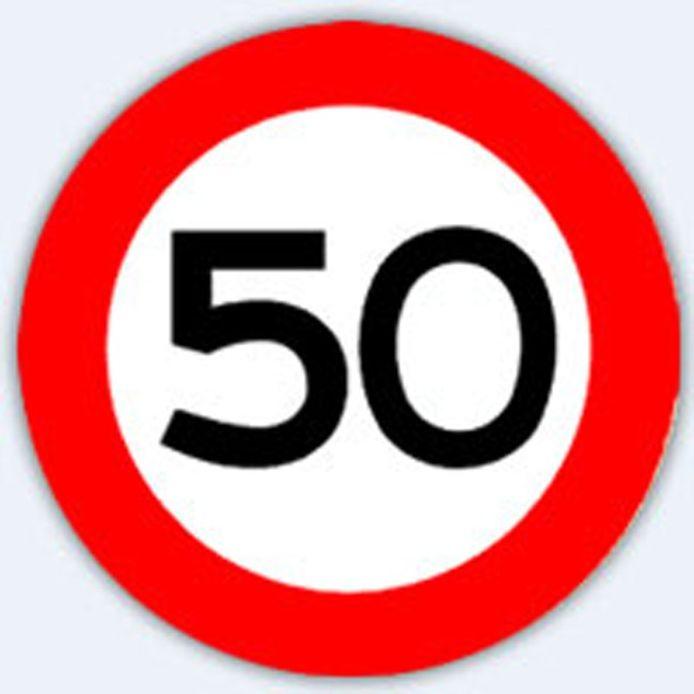 Verkeersbord 50 kilometer.