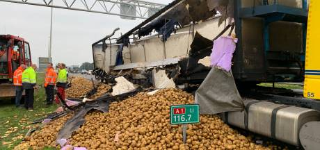 Opruimen aardappels op A1 bij Deventer zit tegen, vertraging neemt af