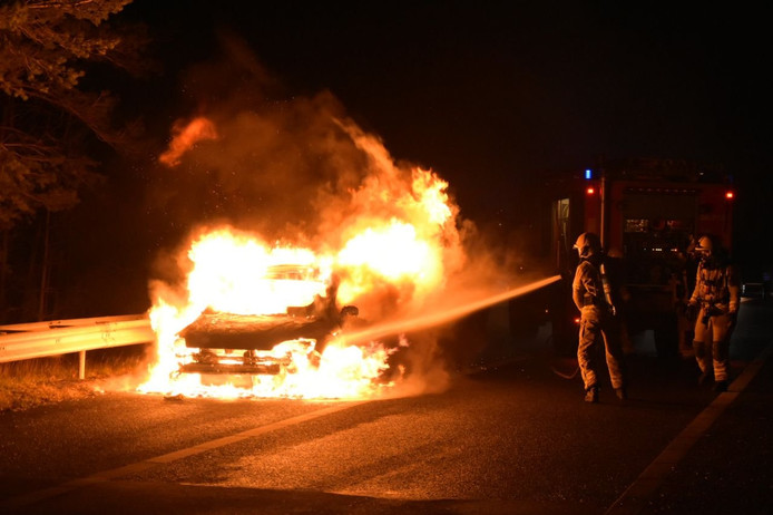 De brand vond plaats op de A28 bij Nunspeet.