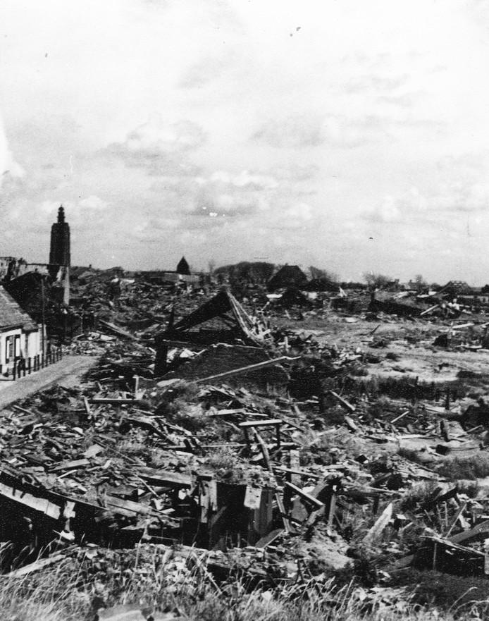 Westkapelle na het verwoestende bombardement van 3 oktober 1944.