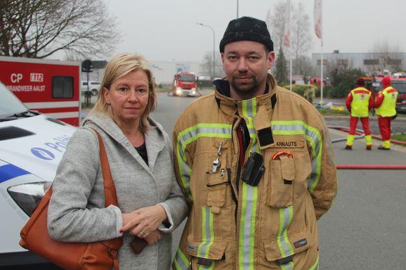 Secretaresse Nadine Solomé en brandweerkorporaal Philip Arnauts, beiden werknemers van Hako.
