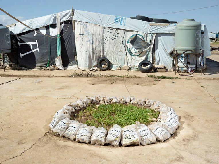 Kamp in de Bekaa-vallei, bij Baalbek, Libanon, mei 2018. Beeld Henk Wildschut
