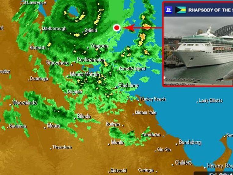 Het cruiseschip zat dicht bij het gevreesde oog van de storm