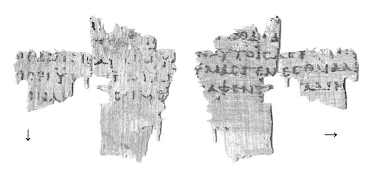 Fragmenten van het Evangelie volgens Marcus.  Beeld Egypt Exploration Society
