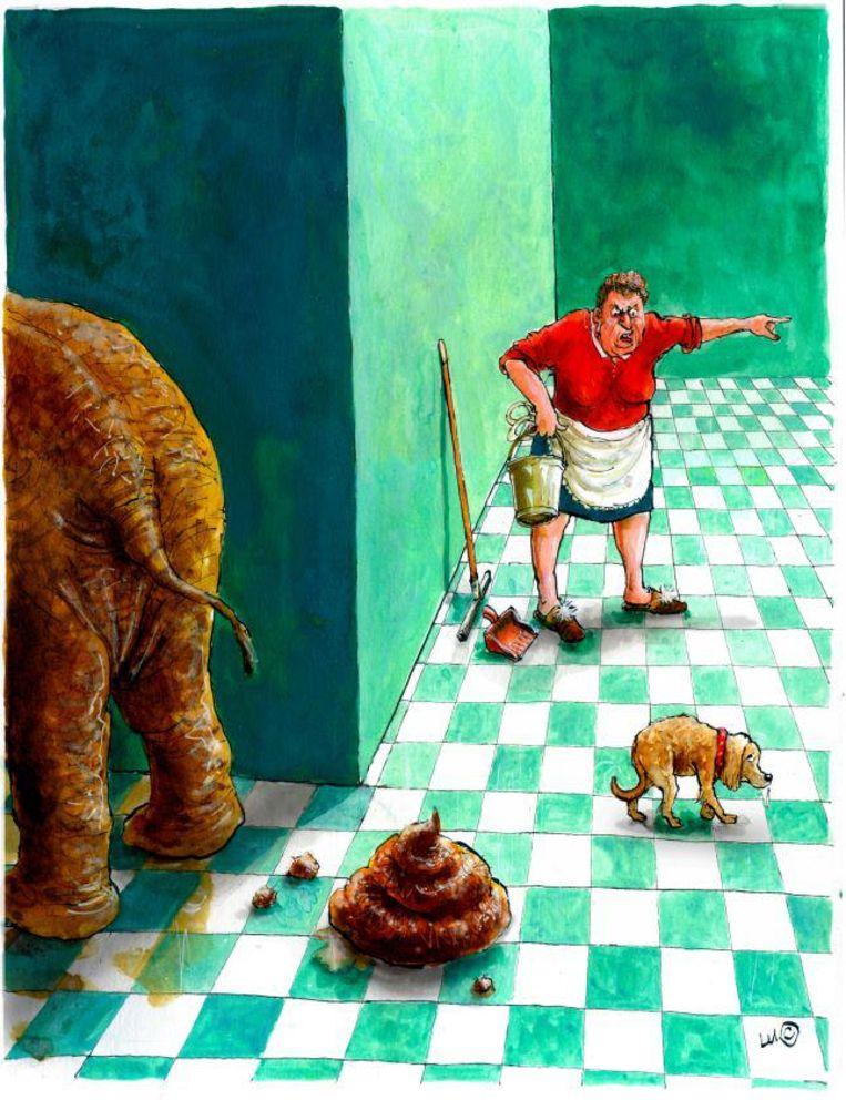 Deze cartoon van Luc Vernimmen won de publieksprijs.