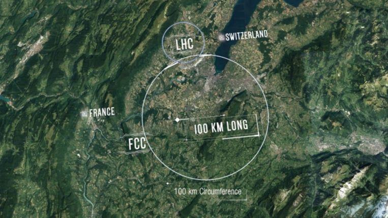 De nieuwe versneller schiet onder meer onder het meer van Genève door. Beeld Cern